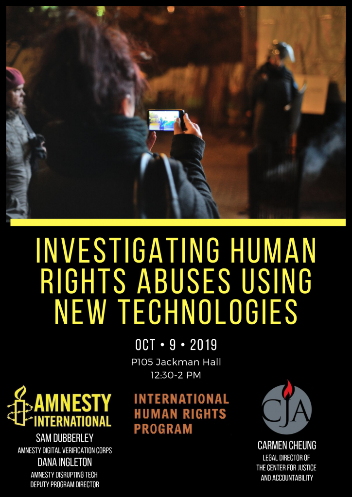 "Poster for the event ""Investigation Human Rights Abuses Using New Technologies"" featuing an image of a woman filming a police officer using a smartphone, and the logos of Amnesty, CJA, and the IHRP"
