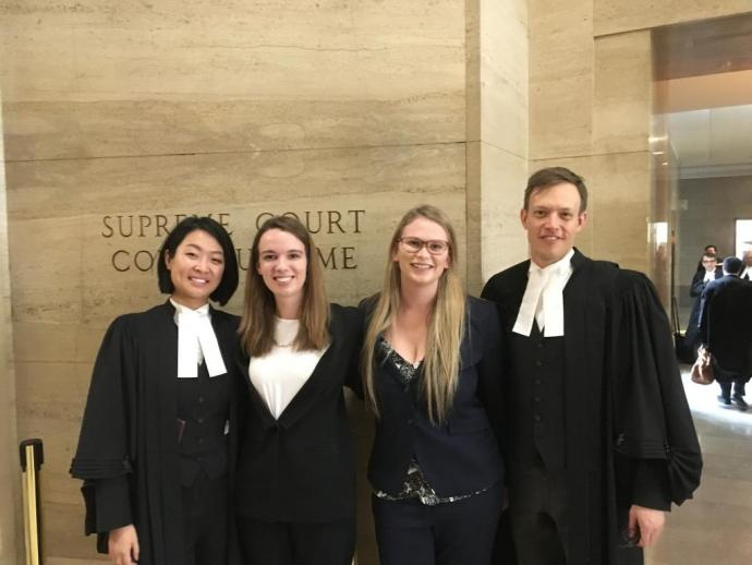 The IHRP legal team at the Supreme Court of Canada. Left to right: Yolanda Song (JD 2017), Madeline Torrie (2L), Nicole Thompson (2L), Cory Wanless (JD 2008)