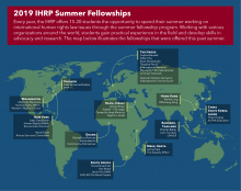 Map displaying the 2019 IHRP Summer Fellowships