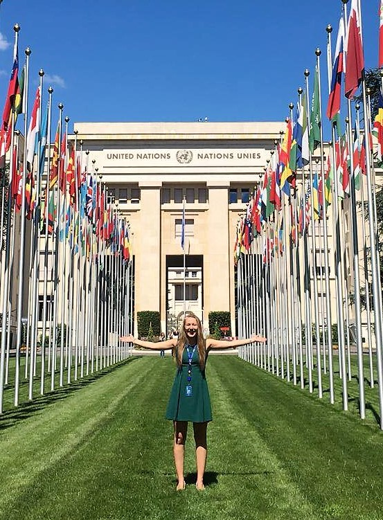 Rachel Bryce (2L JD/MGA) at the Palais des Nations, Geneva. Credit: Brenda Chang.