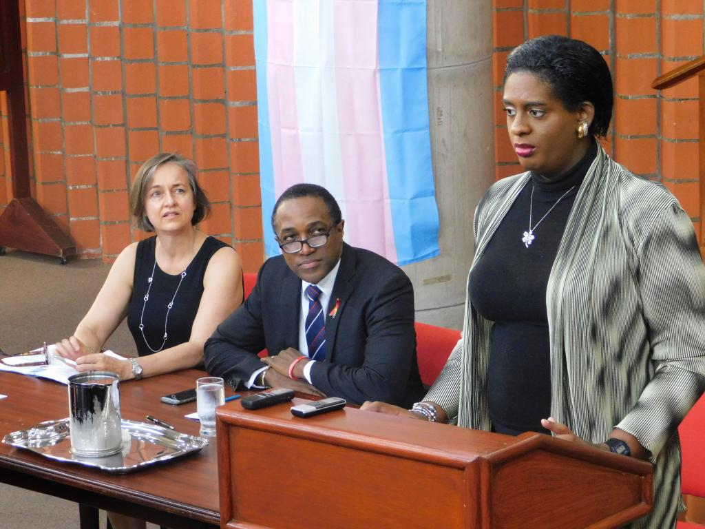 Alexa Hoffmann, Maurice Tomlinson, and Yvonne Chisholm discussing the petition at the press conference at the Cave Hill Campus of the University of the West Indies in Barbados in June 2018.