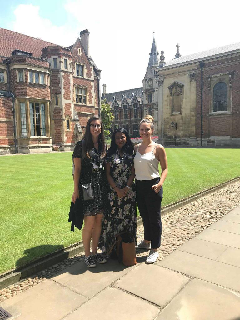 Bethanie Pascutto, Karishma Prasanna and Alex Matic, in Pembroke College, Cambridge, in June 2018.