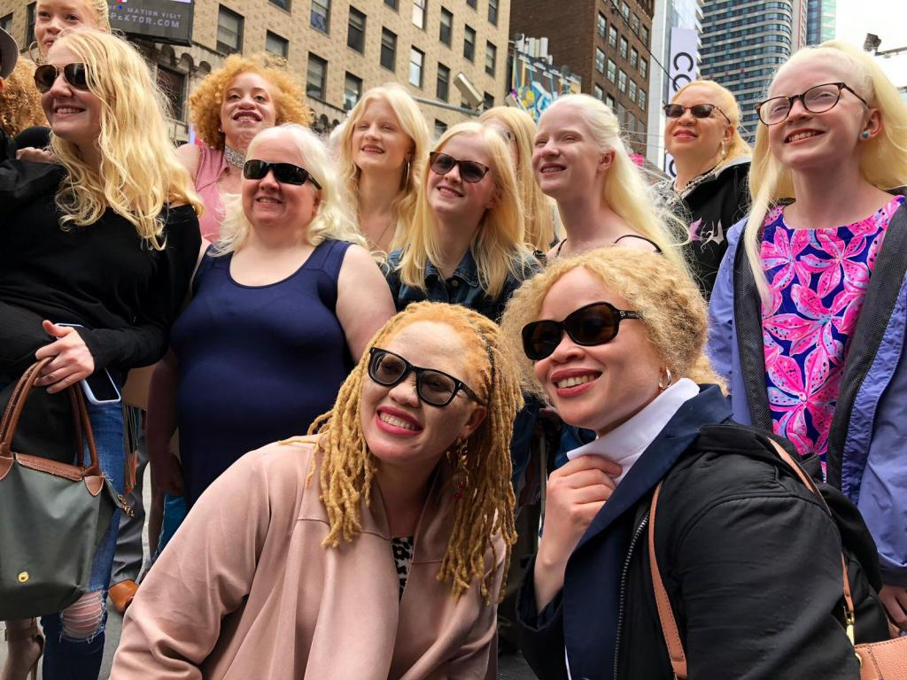 Ms. Ikponwosa Ero, the UN Independent Expert on Albinism, and other persons with albinism from around the world gathered at Times Square for the ColorFull billboard reveal