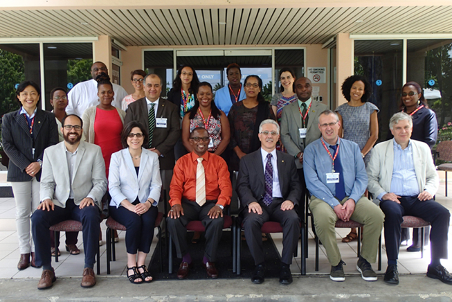 The workshop participants at the Pan American Health Organization Caribbean headquarters in Bridgetown, Barbados.
