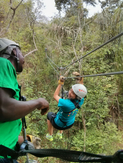 Alexis taking a break from health law and policy to go ziplining in Chaguaramas.