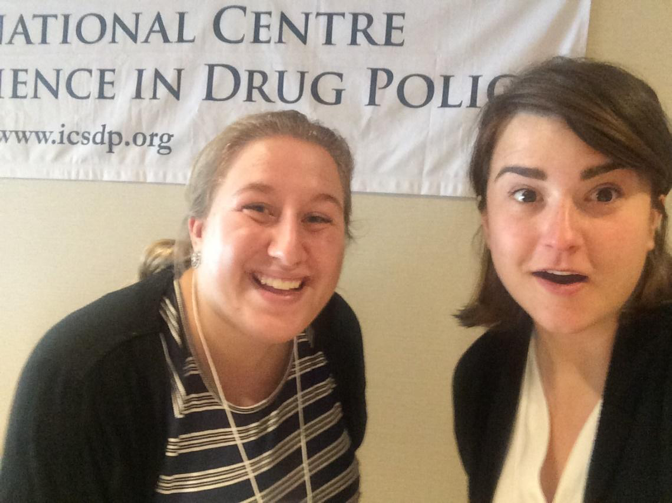 Chelsey (left) with Rachel Kohut, the McGill intern, at the 2nd National Conference on Charting the Future of Drug Policy in Canada, hosted by the Network.
