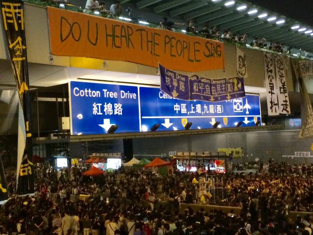 Protesters and banners during Occupy Central in Hong Kong's Admiralty district. Photography by Karlson Leung.