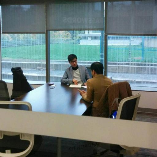 Karlson Leung (left) interviewing Professor Jason Y. Ng (right) after Ng spoke at a guest lecture for the International Human Rights Program.