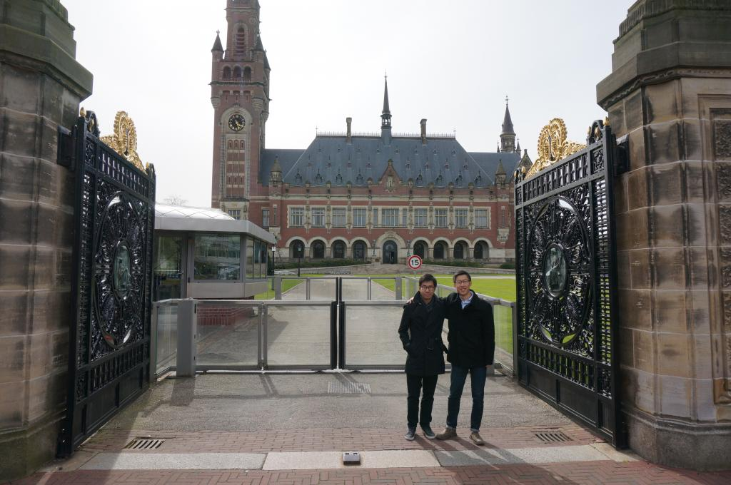 Karlson and Kerry at the Peace Palace in The Hague