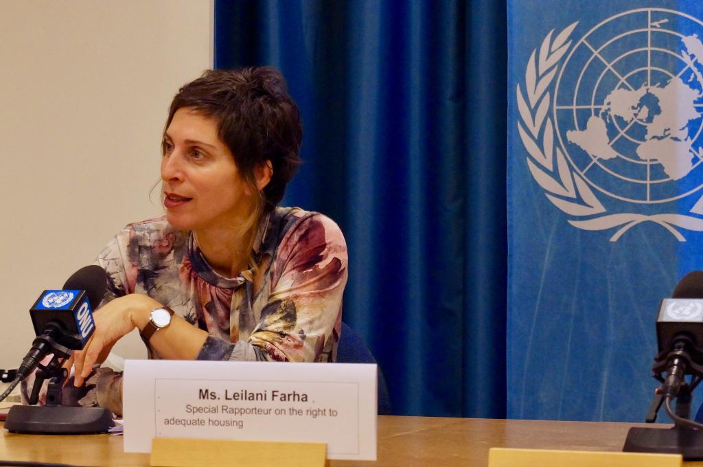 Leilani Farha speaking during a press conference at the UN Office in Geneva. Photography by Karlson Leung.