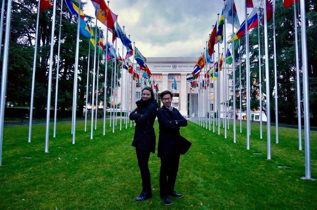 The authors, Faye and Karlson, striking a pose in front of the UN Office at Geneva. Photograph courtesy of Karlson Leung.